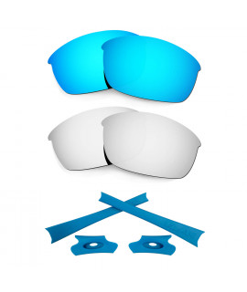 HKUCO For Oakley Flak Jacket Blue/Silver Polarized Replacement Lenses And Blue Earsocks Rubber Kit