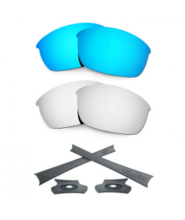 HKUCO For Oakley Flak Jacket Blue/Silver Polarized Replacement Lenses And Grey Earsocks Rubber Kit