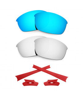 HKUCO For Oakley Flak Jacket Blue/Silver Polarized Replacement Lenses And Red Earsocks Rubber Kit
