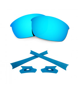 HKUCO For Oakley Flak Jacket Blue Polarized Replacement Lenses And Blue Earsocks Rubber Kit