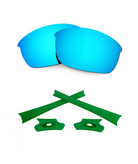 HKUCO For Oakley Flak Jacket Blue Polarized Replacement Lenses And Green Earsocks Rubber Kit