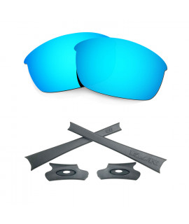 HKUCO For Oakley Flak Jacket Blue Polarized Replacement Lenses And Grey Earsocks Rubber Kit