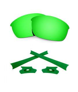 HKUCO For Oakley Flak Jacket Green Polarized Replacement Lenses And Green Earsocks Rubber Kit