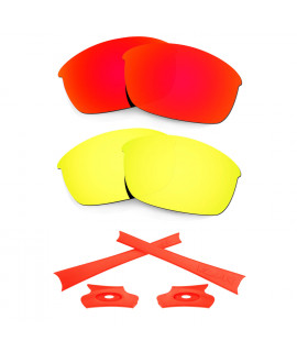 HKUCO For Oakley Flak Jacket Red/24K Gold Polarized Replacement Lenses And Orange Earsocks Rubber Kit