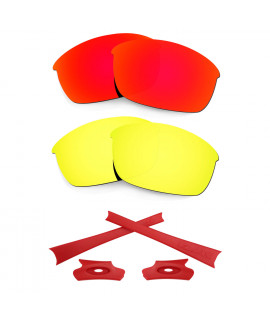 HKUCO For Oakley Flak Jacket Red/24K Gold Polarized Replacement Lenses And Red Earsocks Rubber Kit