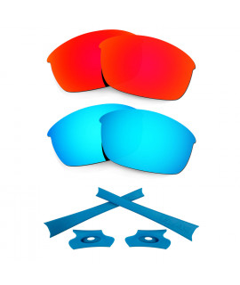 HKUCO For Oakley Flak Jacket Red/Blue Polarized Replacement Lenses And Blue Earsocks Rubber Kit