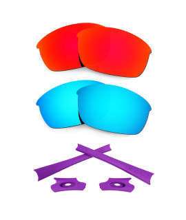 HKUCO Red/Blue Polarized Replacement Lenses and Purple Earsocks Rubber Kit For Oakley Flak Jacket Sunglasses