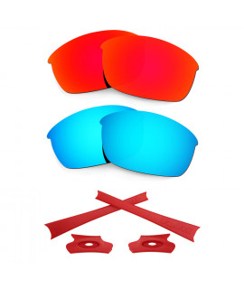 HKUCO For Oakley Flak Jacket Red/Blue Polarized Replacement Lenses And Red Earsocks Rubber Kit