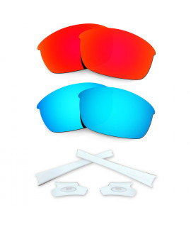 HKUCO Red/Blue Polarized Replacement Lenses and White Earsocks Rubber Kit For Oakley Flak Jacket Sunglasses