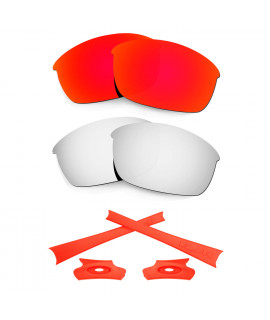 HKUCO For Oakley Flak Jacket Red/Silver Polarized Replacement Lenses And Orange Earsocks Rubber Kit