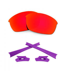 HKUCO Red Polarized Replacement Lenses and Purple Earsocks Rubber Kit For Oakley Flak Jacket Sunglasses