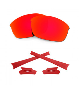 HKUCO For Oakley Flak Jacket Red Polarized Replacement Lenses And Red Earsocks Rubber Kit