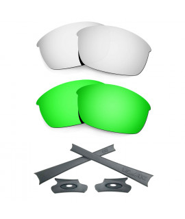 HKUCO For Oakley Flak Jacket Silver/Green Polarized Replacement Lenses And Grey Earsocks Rubber Kit