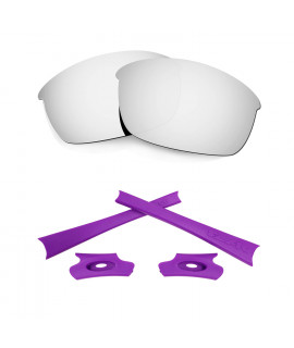 HKUCO Silver Polarized Replacement Lenses and Purple Earsocks Rubber Kit For Oakley Flak Jacket Sunglasses