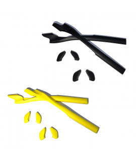 HKUCO Black/Yellow Replacement Silicone Leg Set For Oakley Half Jacket 2.0 XL Sunglasses Earsocks Rubber Kit
