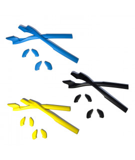 HKUCO Blue/Black/Yellow Replacement Silicone Leg Set For Oakley Half Jacket 2.0 Sunglasses Earsocks Rubber Kit