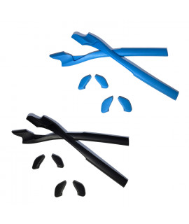 HKUCO Blue/Black Replacement Silicone Leg Set For Oakley Half Jacket 2.0 Sunglasses Earsocks Rubber Kit