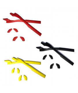 HKUCO Red/Back/Yellow Replacement Silicone Leg Set For Oakley Half Jacket 2.0 Sunglasses Earsocks Rubber Kit