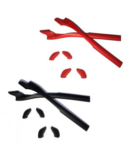 HKUCO Red/Black Replacement Silicone Leg Set For Oakley Half Jacket 2.0 Sunglasses Earsocks Rubber Kit