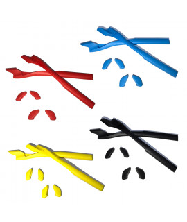 HKUCO Red/Blue/Black/Yellow Replacement Silicone Leg Set For Oakley Half Jacket 2.0 Sunglasses Earsocks Rubber Kit