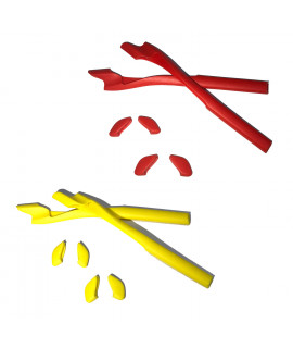 HKUCO Red/Yellow Replacement Silicone Leg Set For Oakley Half Jacket 2.0 Sunglasses Earsocks Rubber Kit