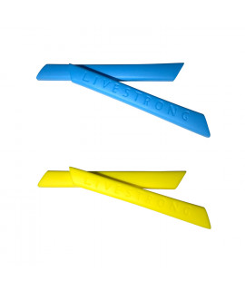 HKUCO Blue/Yellow Replacement Silicone Leg Set For Oakley Racing Jacket Vented Sunglasses Earsocks Rubber Kit