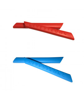 HKUCO Red/Blue Replacement Silicone Leg Set For Oakley Racing Jacket Vented Sunglasses Earsocks Rubber Kit