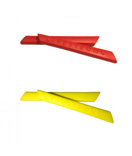 HKUCO Red/Yellow Replacement Silicone Leg Set For Oakley Racing Jacket Vented Sunglasses Earsocks Rubber Kit