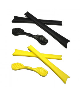 HKUCO Black/Yellow Replacement Silicone Leg Set For Oakley Radar Sunglasses Earsocks Rubber Kit