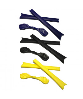 HKUCO Blue/Black/Yellow Replacement Silicone Leg Set For Oakley Radar Sunglasses Earsocks Rubber Kit
