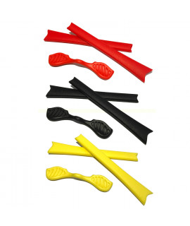 HKUCO Red/Black/Yellow Replacement Silicone Leg Set For Oakley Radar Sunglasses Earsocks Rubber Kit