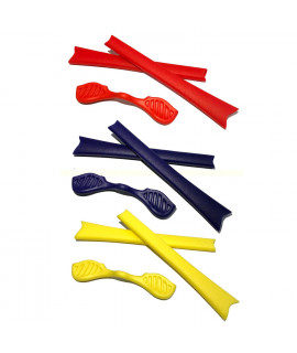 HKUCO Red/Blue/Yellow Replacement Silicone Leg Set For Oakley Radar Sunglasses Earsocks Rubber Kit