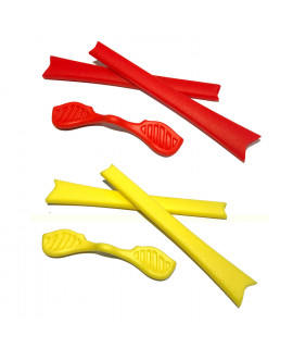 HKUCO Red/Yellow Replacement Silicone Leg Set For Oakley Radar Sunglasses Earsocks Rubber Kit