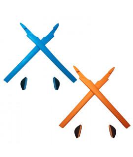 HKUCO Blue/Orange Replacement Silicone Leg Set For Oakley Crosslink Sunglasses Earsocks Rubber Kit