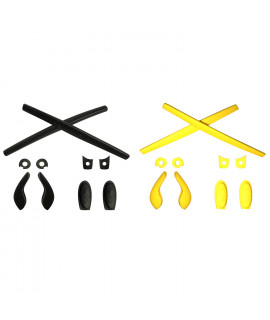 HKUCO Black/Yellow Replacement Silicone Leg Set For Oakley Juliet Sunglasses Earsocks Rubber Kit