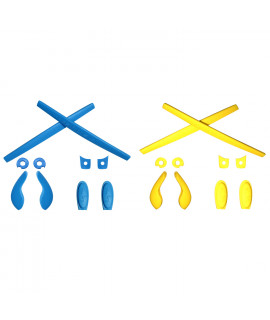 HKUCO Blue/Yellow Replacement Silicone Leg Set For Oakley Juliet Sunglasses Earsocks Rubber Kit