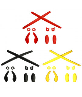 HKUCO Red/Black/Yellow Replacement Silicone Leg Set For Oakley Juliet Sunglasses Earsocks Rubber Kit