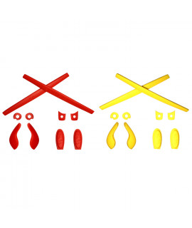 HKUCO Red/Yellow Replacement Silicone Leg Set For Oakley Juliet Sunglasses Earsocks Rubber Kit