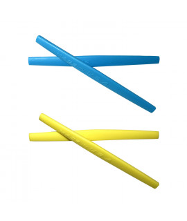 HKUCO Blue/Yellow Replacement Silicone Leg Set For Oakley Whisker Sunglasses Earsocks Rubber Kit