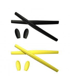 HKUCO Black/Yellow Replacement Silicone Leg Set For Oakley X Metal Series Sunglasses Earsocks Rubber Kit