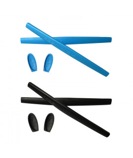 HKUCO Blue/Black Replacement Silicone Leg Set For Oakley X Metal XX Sunglasses Earsocks Rubber Kit