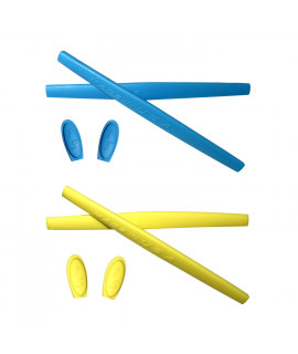 HKUCO Blue/Yellow Replacement Silicone Leg Set For Oakley X Metal XX Sunglasses Earsocks Rubber Kit