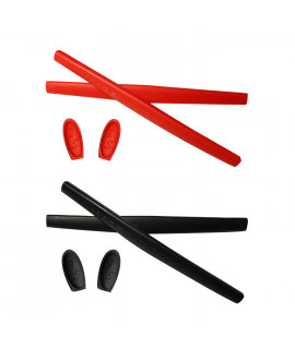HKUCO Red/Black Replacement Silicone Leg Set For Oakley X Metal Series Sunglasses Earsocks Rubber Kit