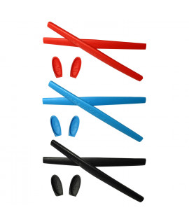 HKUCO Red/Blue/Black Replacement Silicone Leg Set For Oakley X Metal XX Sunglasses Earsocks Rubber Kit