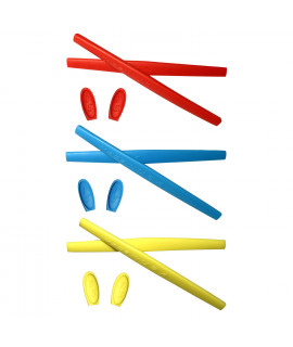 HKUCO Red/Blue/Yellow Replacement Silicone Leg Set For Oakley X Metal XX Sunglasses Earsocks Rubber Kit
