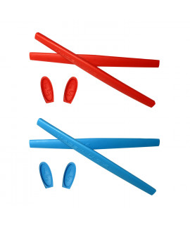 HKUCO Red/Blue Replacement Silicone Leg Set For Oakley X Metal Series Sunglasses Earsocks Rubber Kit