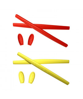 HKUCO Red/Yellow Replacement Silicone Leg Set For Oakley X Metal XX Sunglasses Earsocks Rubber Kit