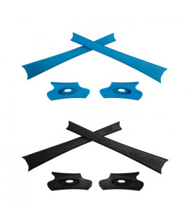HKUCO Blue/Black Replacement Rubber Kit For Oakley Flak Jacket /Flak Jacket XLJ  Sunglass Earsocks