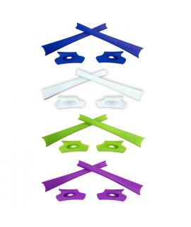 HKUCO Light Green/White/Purple/Dark Blue Replacement Rubber Kit For Oakley Flak Jacket /Flak Jacket XLJ  Sunglass Earsocks