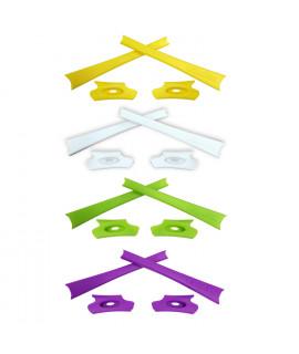HKUCO Light Green/White/Purple/Yellow Replacement Rubber Kit For Oakley Flak Jacket /Flak Jacket XLJ  Sunglass Earsocks
